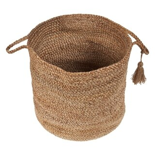 "LR Home Montego Solid Natural Jute Decorative Storage Basket (17 in.) - 17"" x 17"" x 17"""