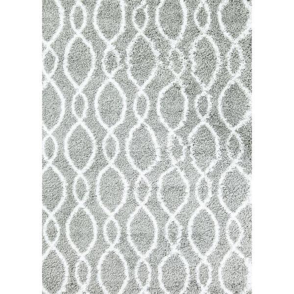 Persian Rugs Manhattan Design Grey White Shag Shaggy Area Rug