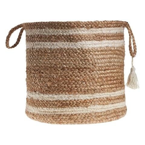 "LR Home Montego Stripe Natural Jute Decorative Storage Basket (15 in.) - 15"" x 15"" x 15"""