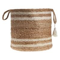 "LR Home Montego Stripe Natural Jute Decorative Storage Basket (15 in.) - 15"" x 15"" x 15"""