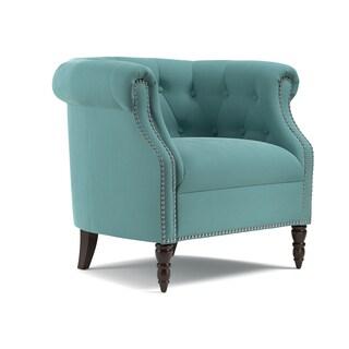 Handy Living Chesterfield Turquoise Blue Velvet Arm Chair