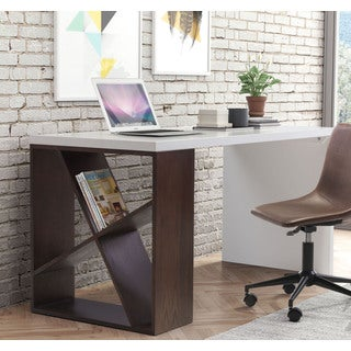 Vega Drake White and Espresso Finish Wood Desk