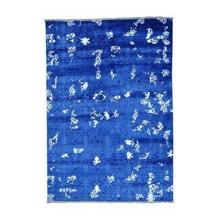 1800GetARug Modern Blue Tone-on-tone Silk Hand-knotted Oriental Rug (5' x 7')