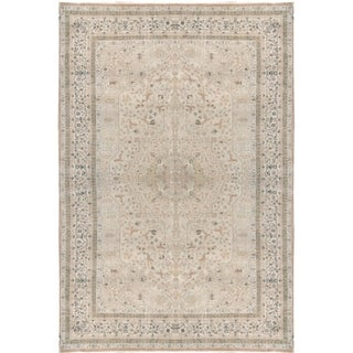 Hand-knotted Pink and Beige Wool Tabriz Rug (6'7x10'1)