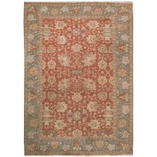 Hand-knotted Zeigler Beige/Blue/Red Wool Rug (9' x 12')