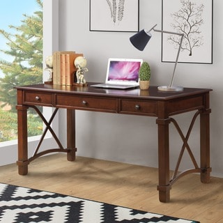 Furniture of America Solena Classic 3-drawer Dark Walnut Desk