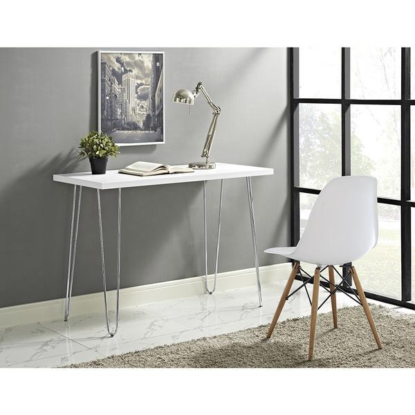 42 Inch Hairpin Leg Wood Writing Desk White