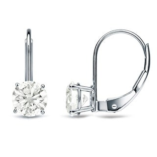 Auriya 14k Gold 1ct TDW Diamond Leverback Dangle Earrings (J-K, SI2-SI3)