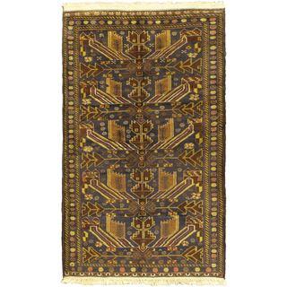 ecarpetgallery Hand-Knotted Khandahar Finest Blue Wool Rug (3'11 x 6'7)