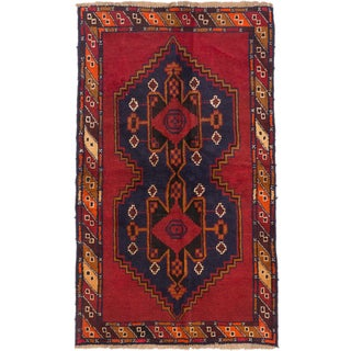 ecarpetgallery Hand-Knotted Kazak Blue, Red Wool Rug (3'6 x 5'11)