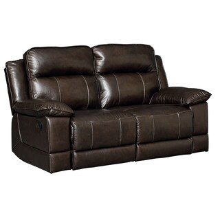 Standard Furniture Sequoia Chocolate Brown Leather Manual Motion Loveseat