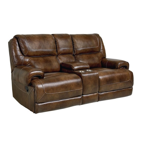 Shop Chisholm Brown Leather Manual Motion Console Loveseat