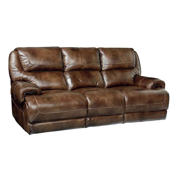 Standard Furniture Chisholm Rustic Brown Leather Manual Motion Sofa