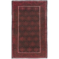 ecarpetgallery Hand-Knotted Persian Vintage Black, Red Wool Rug (3'8 x 6'3)