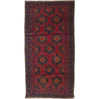 ecarpetgallery Hand-Knotted Rizbaft Red Wool Rug (3'1 x 6'5)