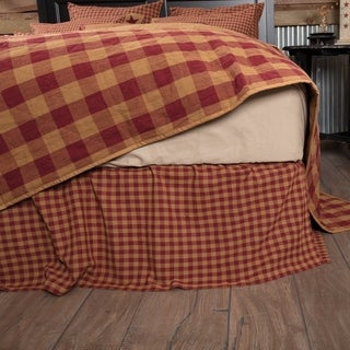 Primitive Bedding VHC Check Bed Skirt Cotton Check Gathered