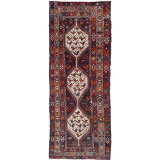 ecarpetgallery Hand-Knotted Mousel Blue, Brown Wool Rug (3'5 x 8'11)