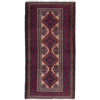 ecarpetgallery Hand-Knotted Finest Baluch Blue, Red Wool Rug (2'10 x 5'7)