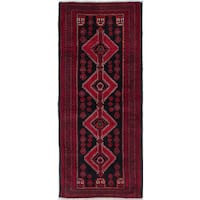 ecarpetgallery Hand-Knotted Finest Baluch Black, Red Wool Rug (3'3 x 7'7)