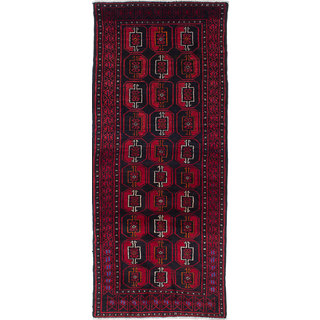 ecarpetgallery Hand-Knotted Finest Baluch Black, Red Wool Rug (2'7 x 6'3)