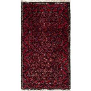 ecarpetgallery Hand-Knotted Persian Vintage Black, Red Wool Rug (3'8 x 6'7)