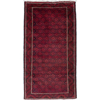 ecarpetgallery Hand-Knotted Persian Vintage Blue, Red Wool Rug (4'3 x 8'0)