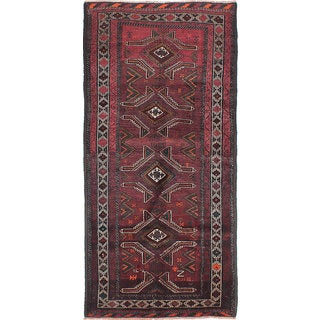 ecarpetgallery Hand-Knotted Persian Vintage Red Wool Rug (4'3 x 9'0)
