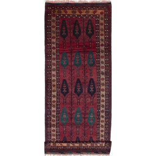 ecarpetgallery Hand-Knotted Persian Vintage Red Wool Rug (3'7 x 9'9)