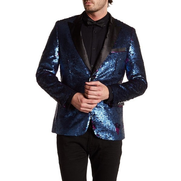 Men's Satin Lapel Sequin Blazer