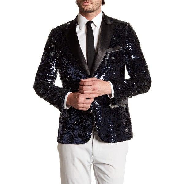 Men's Beik Lapel Formal Sequin Blazer