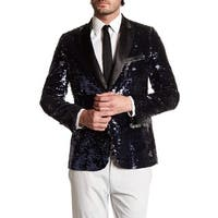Men's Beik Lapel Formal Sequin Blazer