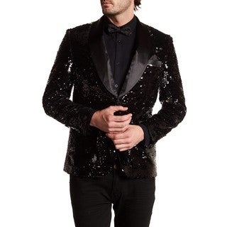 Men's Black Shawl lapel sequin Blazer