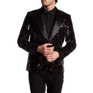 Men's Black Shawl lapel sequin Blazer