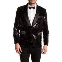 Men's Mat and Shinny Black Sequin Blazer