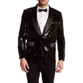 Men's Mat and Shinny Black Sequin Blazer