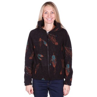 Mazmania Women's Feathers Looped Wool Cinch Back Jacket