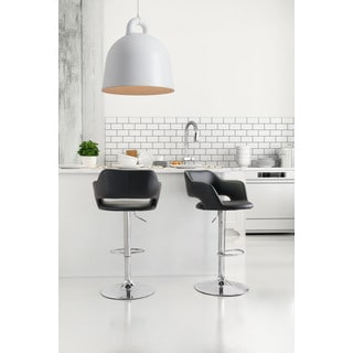 Zuo Hysteria Black Bar Chair with Chrome Base