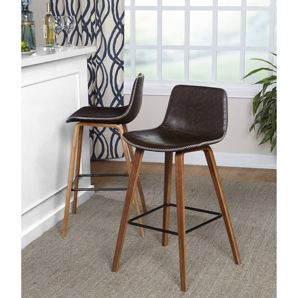 Simple Living Wapoli Mid-century Faux Leather Bar Stools (Set of 2). Opens flyout.
