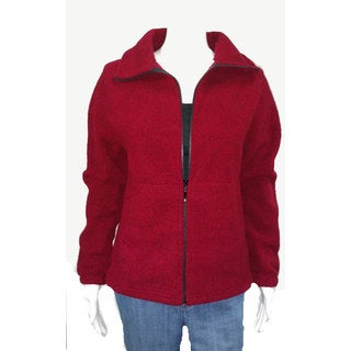 Mazmania Women's Red Looped Wool Cinch Back Jacket