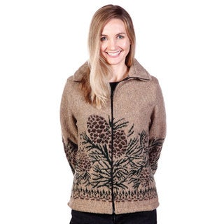 Mazmania Women's Pine Cone Looped Wool Cinch Back Jacket