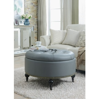 Chic Home Keller PU Leather Castered Legs Round Ottoman, Grey