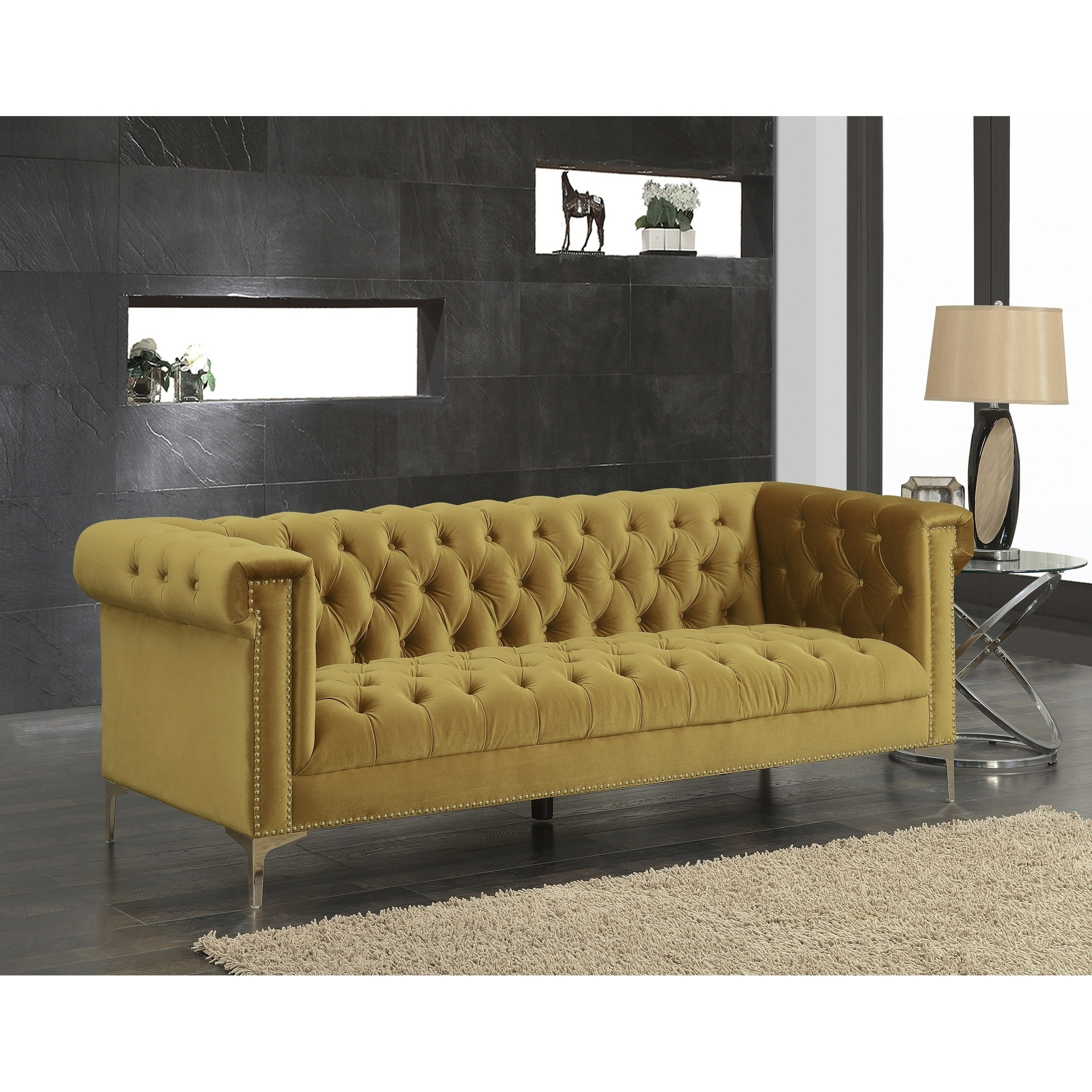 Outstanding Chic Home Vanessa Velvet Goldtone Metal Y Leg Sofa Cognac Gmtry Best Dining Table And Chair Ideas Images Gmtryco