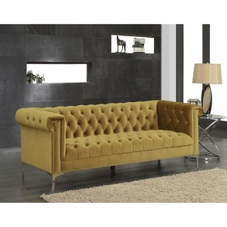 Link to Chic Home Vanessa Velvet Goldtone Metal Y-leg Sofa, Cognac Similar Items in Sofas & Couches