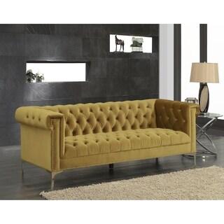 Chic Home Vanessa Velvet Goldtone Metal Y-leg Sofa, Cognac