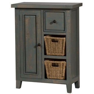 Hillsdale Furniture Tuscan Retreat Coffee Nordic Blue Wood Cabinet with 2 Shelves and Baskets