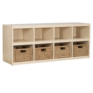 Hillsdale Furniture Tuscan Retreat Country White Wood Storage Cube with Baskets