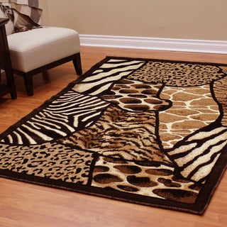 DonnieAnn Skinz Design Mixed Color Animal-skin-prints Patchwork Area Rug (5'2.5 x 7'2.5)