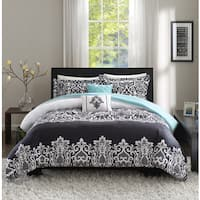 Intelligent Design Hazel Black/ Aqua Duvet Cover Set