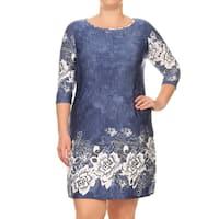 Women's Plus Size Denim Contrasting Dress