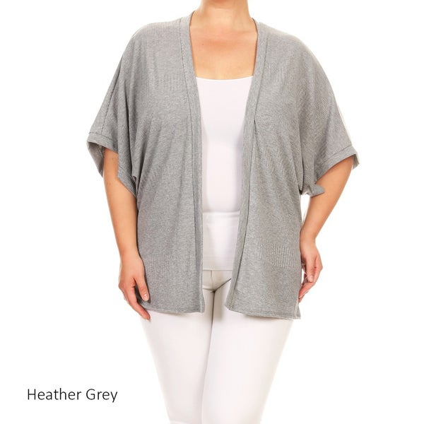 Women's Plus Size Solid Rib Knit Cardigan
